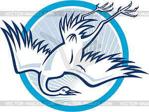 Heron Crane Diving Down-Cartoon - Vektorgrafik-Design