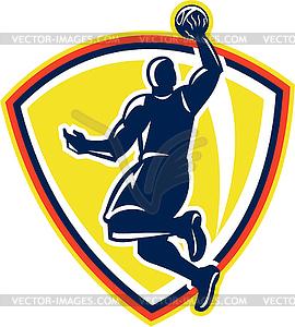 Basketballer Dunking Erholt Kugel Retro - Clipart