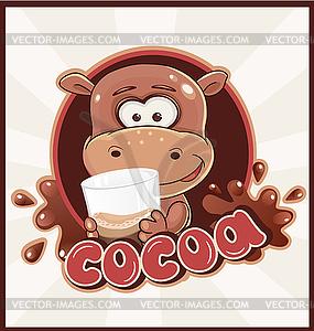 Hippopotamus mit Kakao trinken - Vektorgrafik