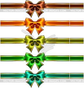 Silk Bögen mit Bändern und goldenen Kanten - Vektor-Clipart EPS
