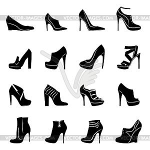 Sechzehn Modelle der stilvollen Frauen Schuhe - Vector-Bild