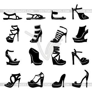 Satz von verschiedenen Modellen von stilvollen Frauen Schuhe - Vector-Design
