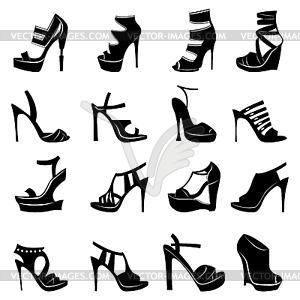 Sechzehn verschiedene stilvolle Modelle von Frauen Schuhe - Vektorgrafik