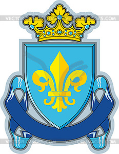 Schild, Farbbänder, Krone, Heraldik Fleur-de-Lys - Vektor-Abbildung