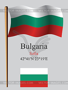 Bulgarien wellig Flagge und Koordinaten - Vektor-Skizze