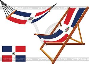 Dominikanische Republik Hängematte und Liegestuhl-Set - Vektorgrafik-Design