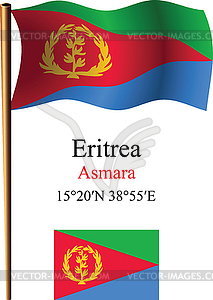 Eritrea wellig Flagge und Koordinaten - Stock Vektor-Clipart