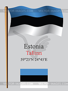 Estland wellig Flagge und Koordinaten - vektorisiertes Design