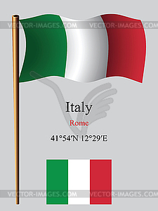 Italien wellig Flagge und Koordinaten - Stock Vektorgrafik