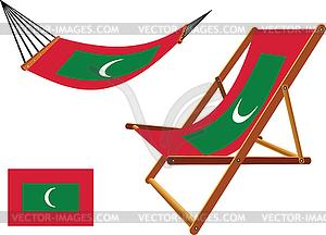 Malediven Hängematte und Liegestuhl-Set - vektorisiertes Design