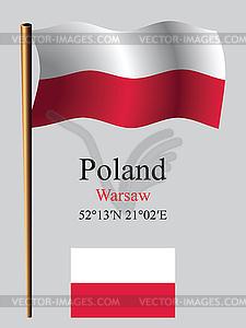 Polen wellig Flagge und Koordinaten - Vektor-Clipart / Vektor-Bild