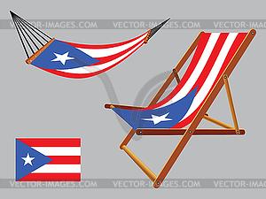 Puerto rico Hängematte und Liegestuhl-Set - farbige Vektorgrafik
