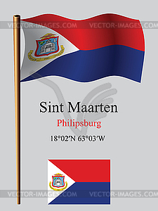 Saint Martin wellig Flagge und Koordinaten - farbige Vektorgrafik
