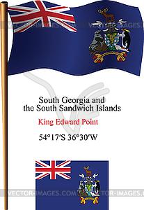 Südgeorgien und Südliche Sandwich-Inseln wellig Flagge - vektorisiertes Bild