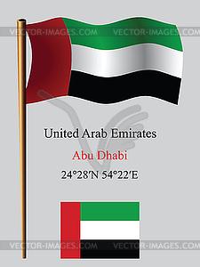 Vereinigte Arabische Emirate wellenförmige Flagge und die Koordinaten - Vektor-Clipart / Vektor-Bild