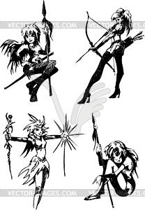 Mädchen Jugendliche mit Messer - Stock-Clipart