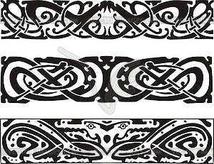 Keltischen Knoten Designs mit Schlangen und Drachen - Vektor Clip Art