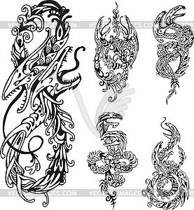 Stilisierten zweiköpfigen Drachen - vektorisiertes Bild