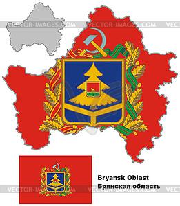 Übersichtskarte von Brjansk mit Flagge - vektorisierte Abbildung