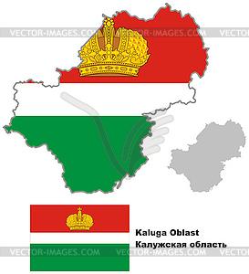 Übersichtskarte der Region Kaluga mit Flagge - Vektor-Design