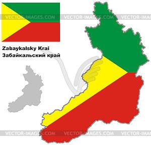 Übersichtskarte der Zabaykalsky Krai mit Flagge - Vektor-Klipart