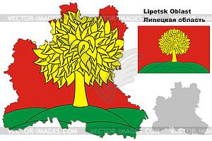 Übersichtskarte der Oblast Lipezk mit Flagge - Vector-Bild