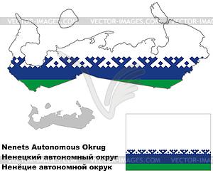 Übersichtskarte von Nenetsia mit Flagge - Stock Vektor-Clipart