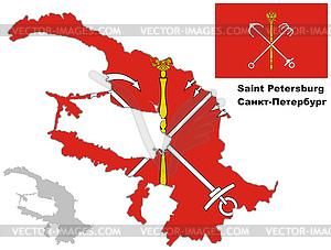 Übersichtskarte von St. Petersburg mit Flagge - Clipart-Bild