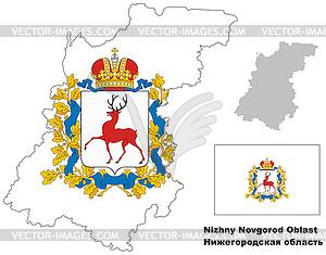 Übersichtskarte der Oblast Nischni Nowgorod mit Fahne - Stock-Clipart