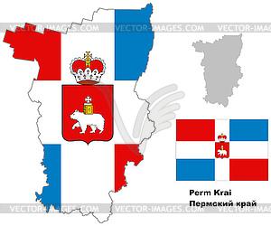 Übersichtskarte der Region Perm mit Fahne - Vektor-Clipart