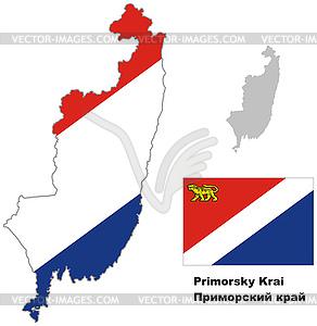 Übersichtskarte der Region Primorje mit Fahne - Vector-Clipart