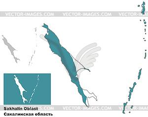 Übersichtskarte von Sachalin Oblast mit Fahne - Vektor Clip Art