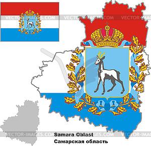 Übersichtskarte des Oblasts Samara mit Flagge - Vector-Illustration