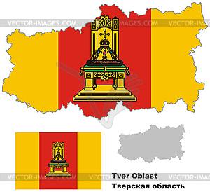 Übersichtskarte der Oblast Twer mit Fahne - Vector-Design