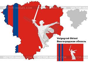 Übersichtskarte der Oblast Wolgograd mit Fahne - Vektorabbildung
