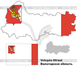 Übersichtskarte der Region Vologda mit Fahne - vektorisierte Abbildung