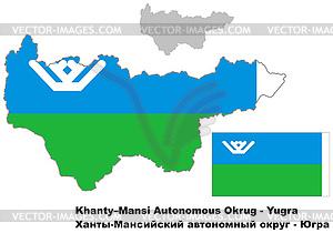 Übersichtskarte von Khanty-Mansi Autonomen Kreises mit - Stock Vektorgrafik