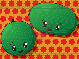 Kawaii Wassermelone Symbole - farbige Vektorgrafik