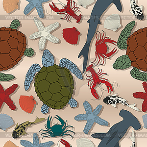 Sea life nahtlose Muster - vektorisierte Grafik
