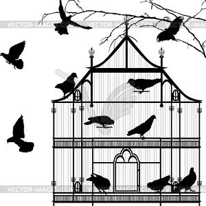 Vögel und Vogelkäfig Grafik - vektorisiertes Design