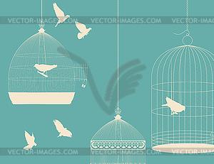 Vögel und Vogelkäfige Postkarte - Stock Vektorgrafik