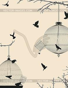 Vögel und Vogelkäfige Postkarte - Vector-Clipart EPS