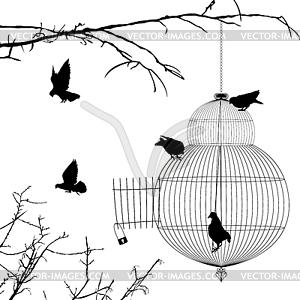Offenen Käfig und Vögel Silhouetten - Vektorgrafik-Design
