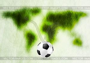 Grunge grüne Karte und Fußball - Royalty-Free Clipart