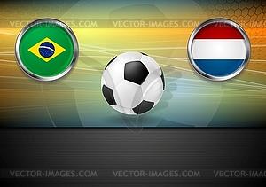 Finale Fußball. Brasilien und Niederlande in Brasilien - farbige Vektorgrafik