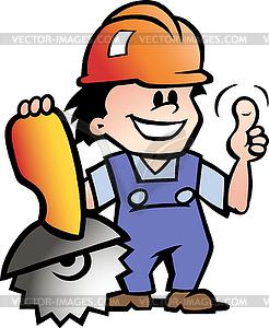 Handgezeichnete Ein frohes Mechaniker oder Handwerker - Stock-Clipart