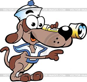 Handgezeichnete Ein frohes Sailor Watch Dog - Vektor-Klipart