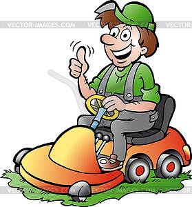 Hand-, die eine glückliche Gärtner Reiten seinem Rasenmäher - Vektor-Clipart / Vektorgrafik