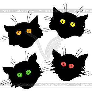 Vier Katzenkopf schwarze Silhouetten - Stock Vektorgrafik