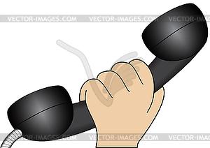 Hand mit Telefonhörer - Stock Vektorgrafik